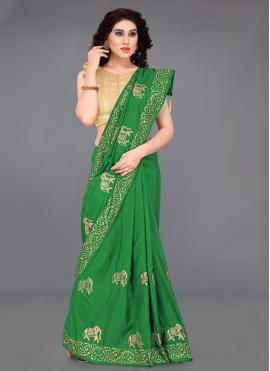 Green Silk Embroidered Printed Saree