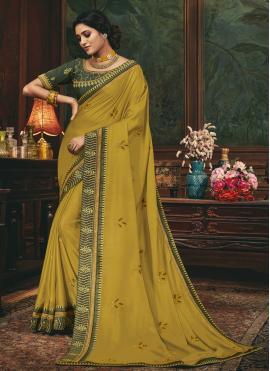 Green Silk Mehndi Traditional Saree