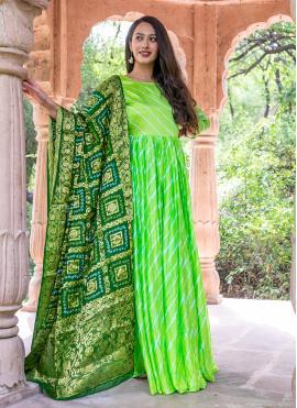 Green Silk Readymade Suit