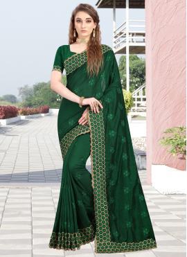 Green Silk Resham Designer Contemporary Saree