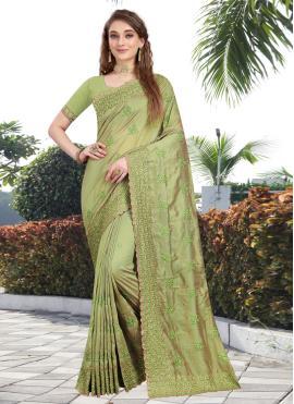 Green Silk Stone Contemporary Saree