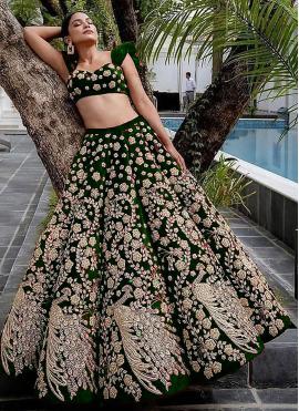 Green Velvet Sangeet Lehenga Choli