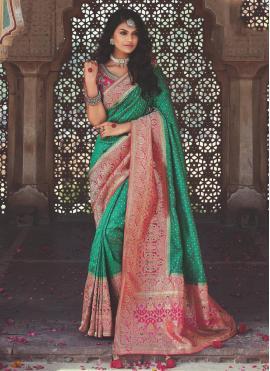 Green Weaving Banarasi Silk Designer Saree