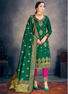 Green Weaving Ceremonial Pant Style Suit