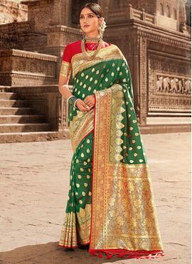 Green Weaving Sangeet Designer Traditional Saree