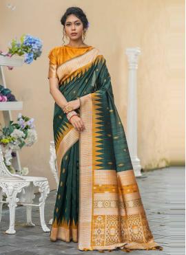 Green Weaving Tussar Silk Designer Traditional Saree