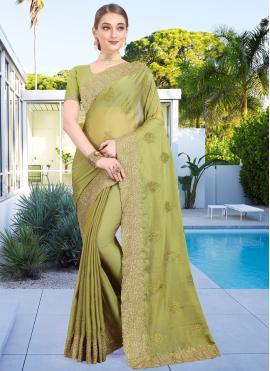 Green Wedding Faux Chiffon Designer Bollywood Saree