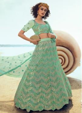Green Wedding Net A Line Lehenga Choli