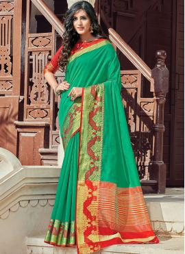 Green Woven Classic Designer Saree