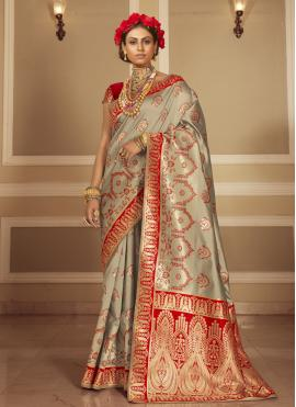 Grey and Red Woven Banarasi Silk Traditional Designer Saree