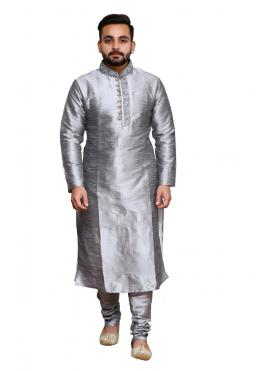 Grey Art Dupion Silk Ceremonial Kurta Pyjama