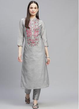 Grey Color Party Wear Kurti