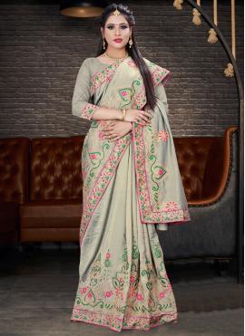 Grey Color Trendy Saree