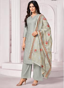 Grey Cotton Bollywood Salwar Kameez