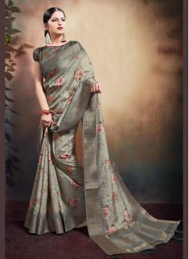 Grey Digital Print Cotton Classic Designer Saree