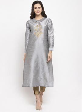 Grey Dupion Silk Embroidered Readymade Salwar Suit