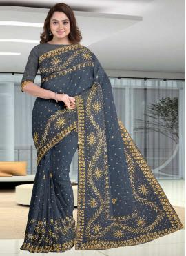 Grey Engagement Faux Georgette Traditional Designer Saree