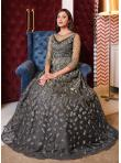 Grey Net Sequins Floor Length Anarkali Suit - 2