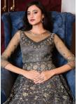 Grey Net Sequins Floor Length Anarkali Suit - 3