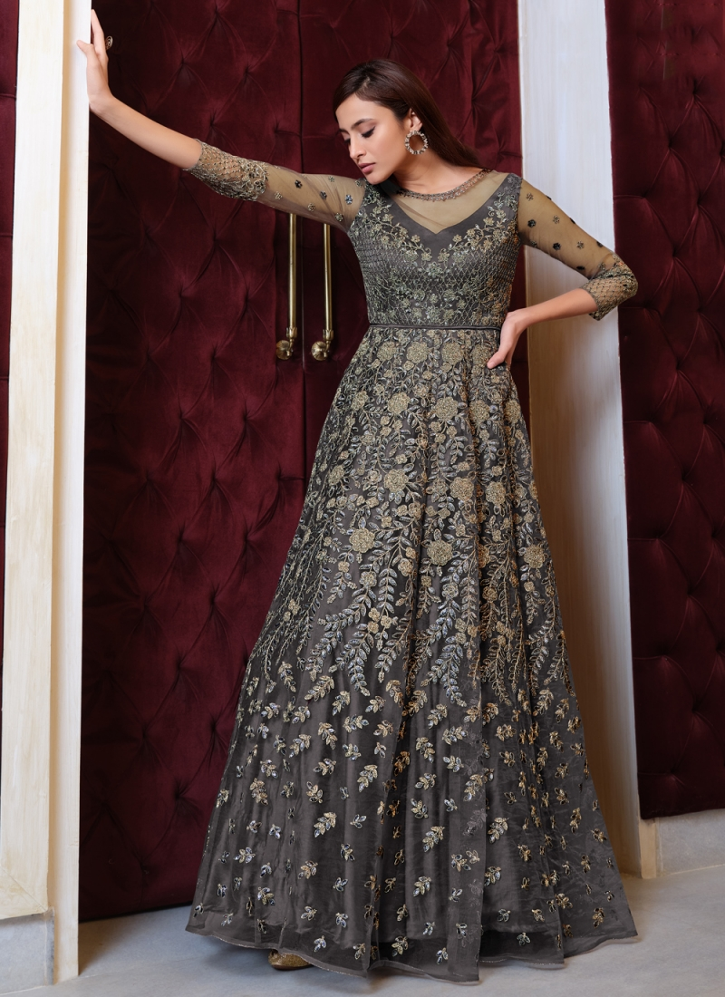 Grey Net Sequins Floor Length Anarkali Suit