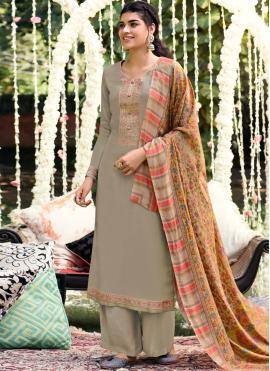 Grey Pashmina Bollywood Salwar Kameez