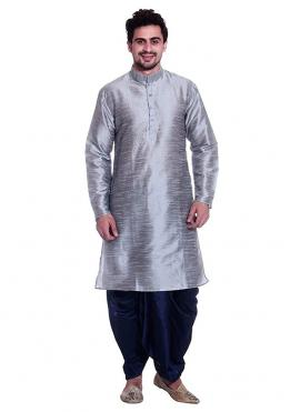 Grey Plain Kurta Pyjama