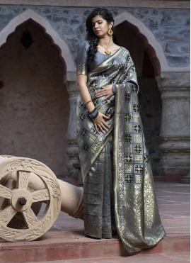 Grey Reception Banarasi Silk Silk Saree