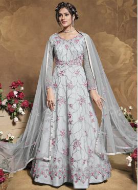 Grey Resham Floor Length Anarkali Suit
