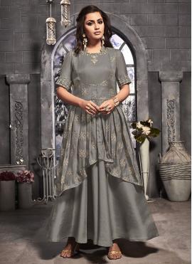Grey Satin Silk Festival Anarkali Salwar Suit