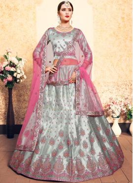 Grey Satin Wedding Trendy Lehenga Choli