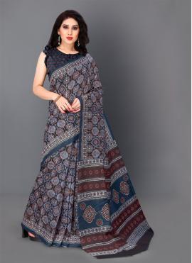 Grey Silk Digital Print Classic Saree