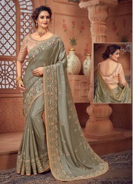 Grey Silk Woven Designer Bollywood Saree