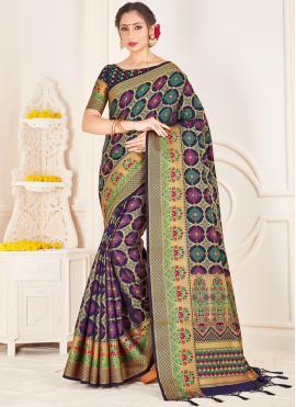 Gripping Art Banarasi Silk Woven Navy Blue Traditional Designer Saree
