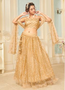 Gripping Fancy Net Gold Lehenga Choli