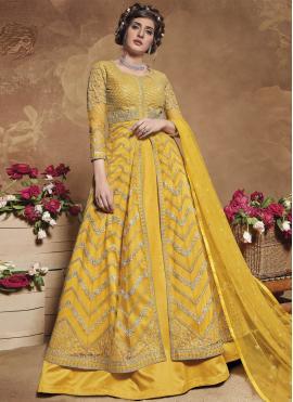 Gripping Net Mehndi Floor Length Anarkali Suit