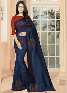 Groovy Embroidered Blue Classic Saree