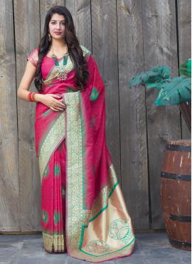Groovy Pink Weaving Silk Classic Saree