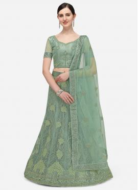 Groovy Sea Green Embroidered A Line Lehenga Choli