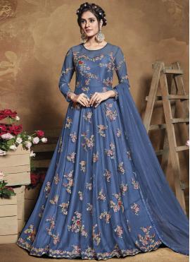Groovy Thread Work Blue Floor Length Anarkali Suit