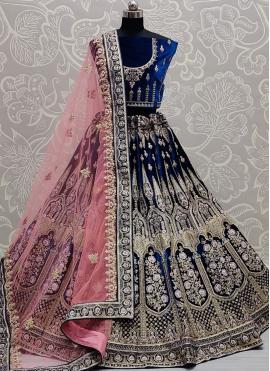 Groovy Velvet Embroidered Blue Lehenga Choli