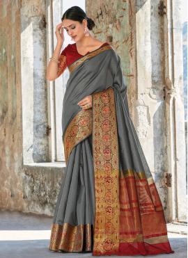 Handloom Cotton Weaving Grey Trendy Saree