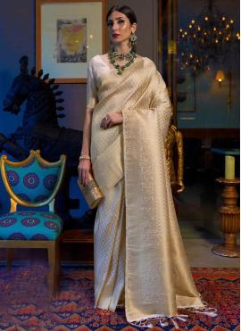 Handloom silk Designer Traditional Saree in Beige
