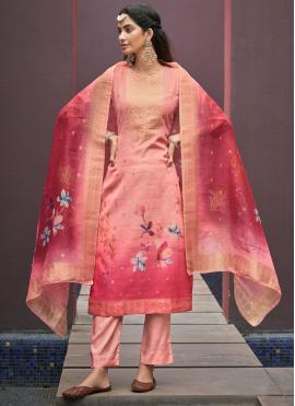 Handwork Chanderi Pant Style Suit in Peach