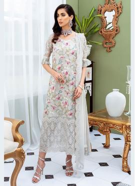 Haute Grey Designer Straight Salwar Suit