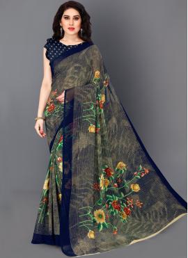 Haute Multi Colour Faux Georgette Bollywood Saree