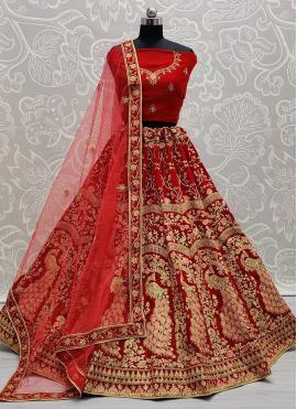 Heavenly Embroidered Velvet Maroon Lehenga Choli