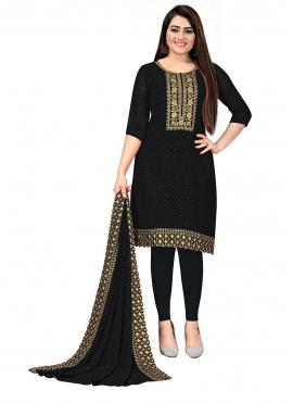 Heavenly Georgette Black Embroidered Trendy Salwar Suit