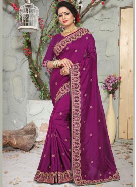 Honourable Art Silk Wine Traditional Designer Saree