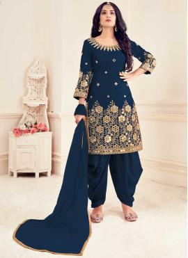 Honourable Blue Embroidered Patiala Suit