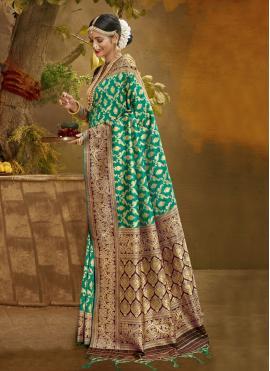 Honourable Fancy Banarasi Silk Green Traditional Designer Saree